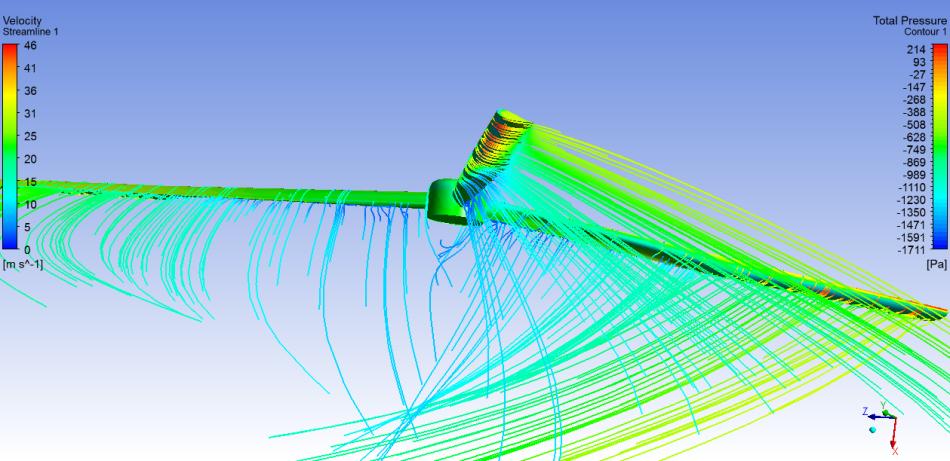 Aerogenerador HAWT JASF CFD Pressure and Pathlines